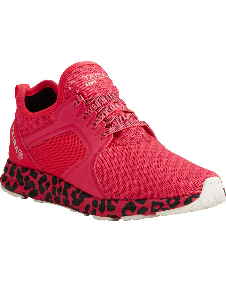 Ariat Women's Fuse Neon Pink Leopard Mesh Shoes , Pink, hi-res