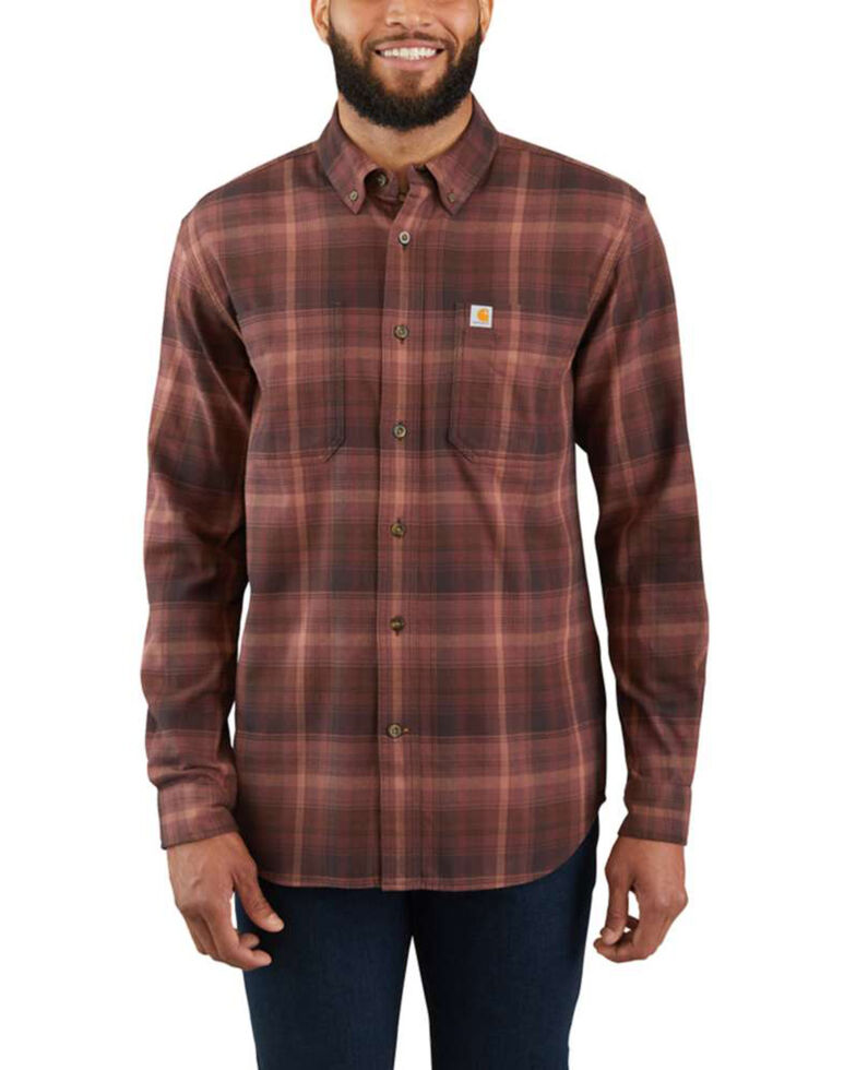 Carhartt Men's Rugged Flex Hamilton Plaid Long Sleeve Work Shirt - Tall , Brown, hi-res
