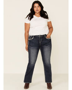 Grace in LA Women's Studded Bootcut Jeans - Plus, Blue, hi-res