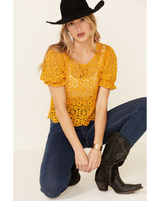 Very J Women's Mustard Circle Crochet Short Sleeve Crop Top , Mustard, hi-res