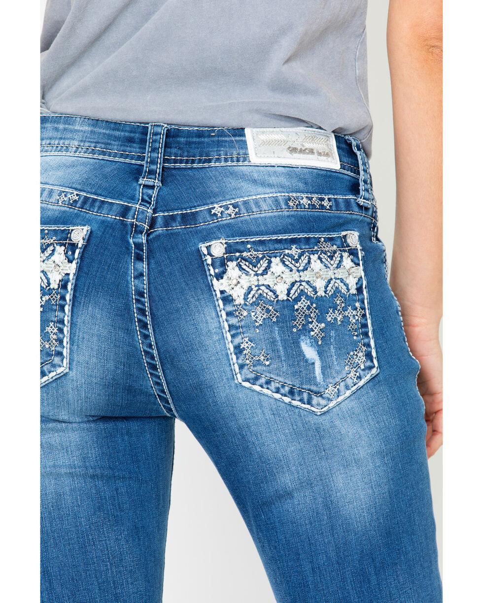 Grace In LA Women's Aztec Easy Mid Boot Jeans , Blue, hi-res