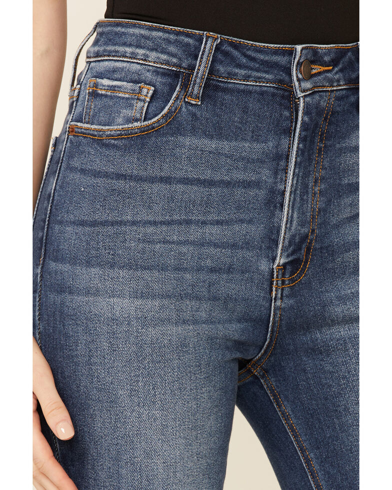 Cello Women's Medium Wash Distressed Knee High Rise Flare Jeans, Blue, hi-res