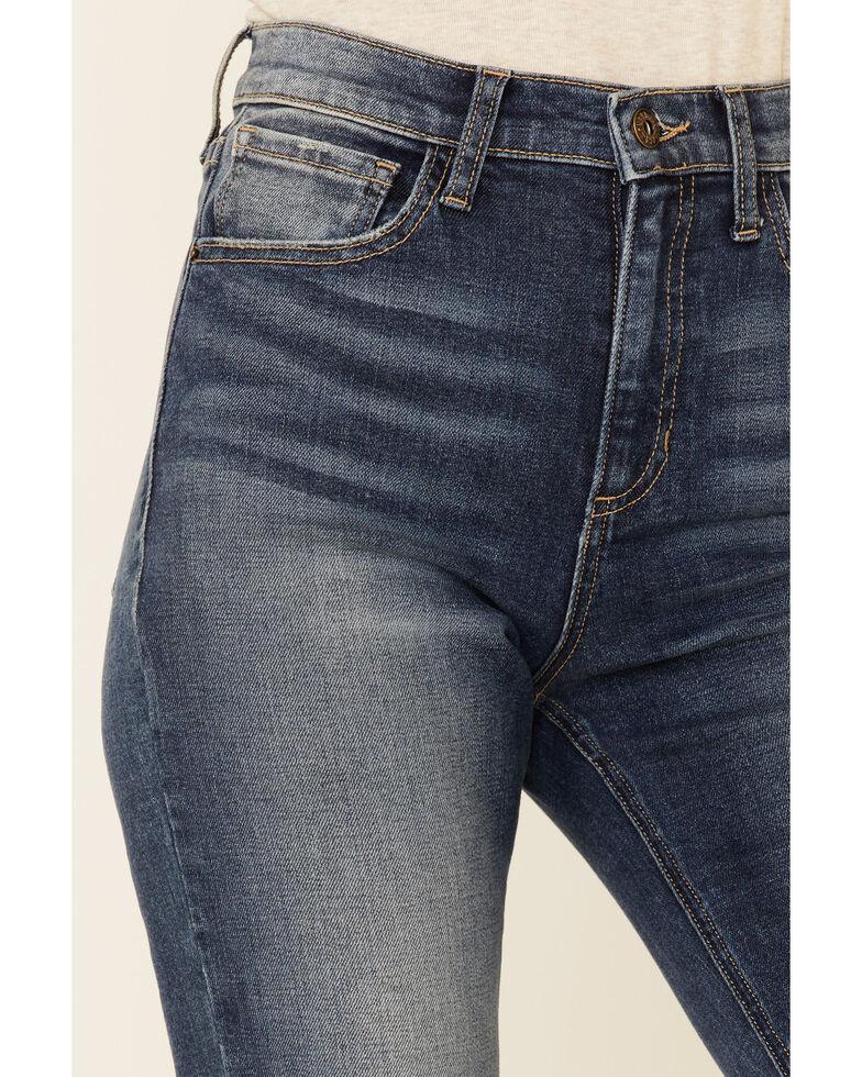 Sneak Peek Women's Medium Wash High Rise Distressed Hem Skinny Jeans , Blue, hi-res