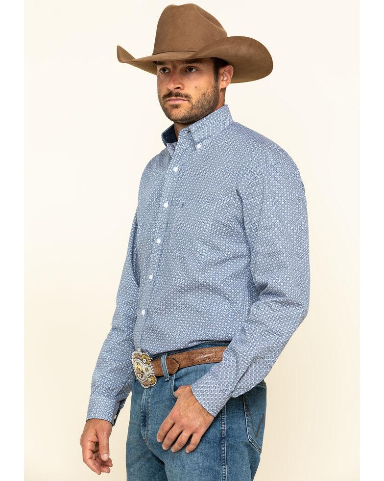 Stetson Men's Navy Pinwheel Floral Geo Print Long Sleeve Western Shirt , Navy, hi-res