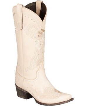 Lane Wedding Cowgirl Boots - Snip Toe, Ivory, hi-res