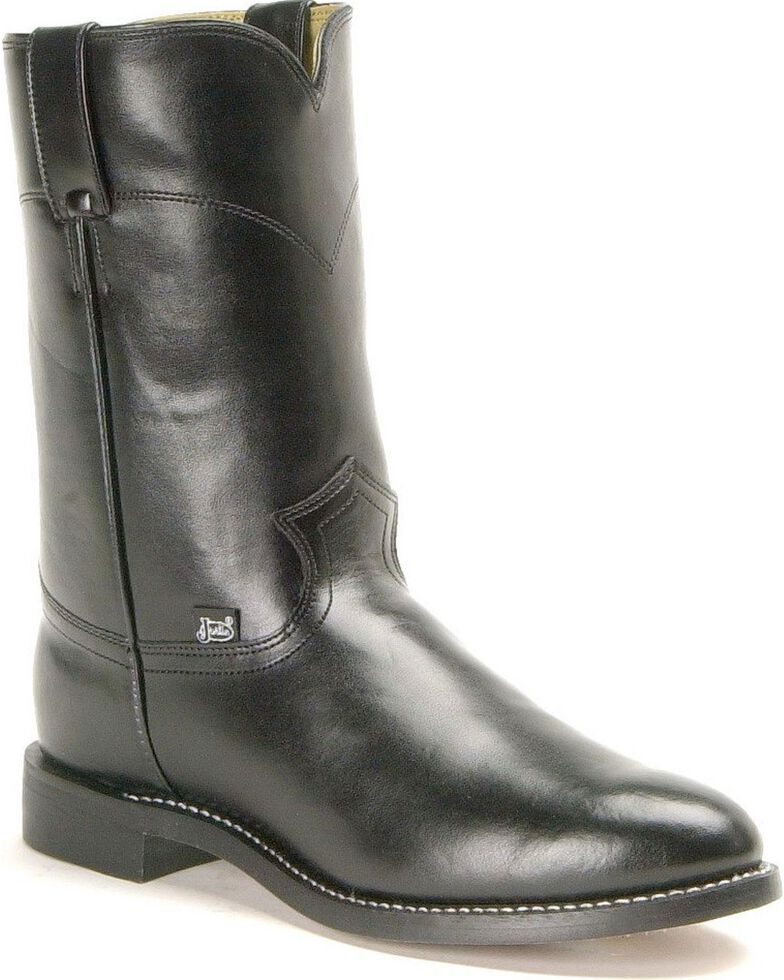 Justin Men's Basics Roper Cowboy Boots - Round Toe, Black, hi-res