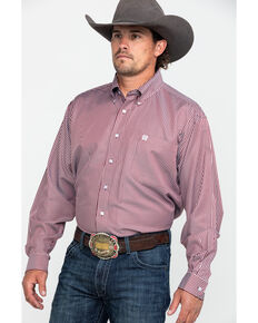 Cinch Men's Burgundy Tencel Stripe Long Sleeve Western Shirt  , Burgundy, hi-res