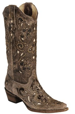 Corral Crater Bone Studs & Inlay boots, Brown, hi-res