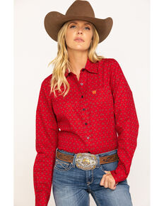 Cinch Women's Red Paisley Tile Button Core Long Sleeve Western Shirt, Red, hi-res