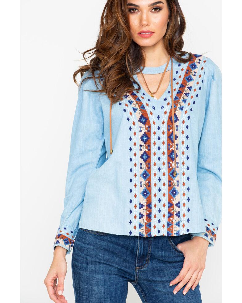 Miss Me Women's Hi-Low Embroidered Top, Light Blue, hi-res
