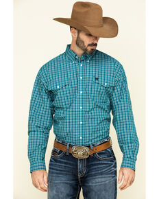Cinch Men's Teal Large Plaid Button Long Sleeve Western Shirt , Teal, hi-res