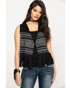 Vocal Women's Bling Print Fringe Short Vest, Black, hi-res