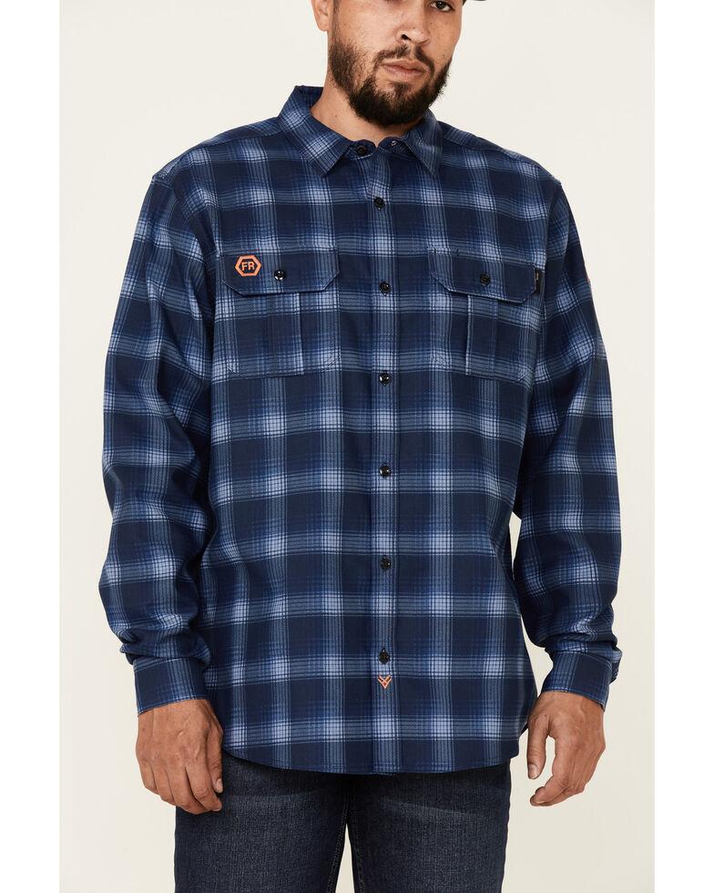 Hawx Men's FR Navy Woven Plaid Long Sleeve Button-Down Work Shirt , Navy, hi-res