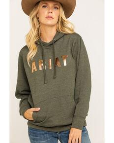Ariat Women's Olive & Rose Gold Logo Hoodie , Olive, hi-res