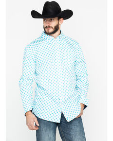 Cody James Core Men's Astro Geo Print Long Sleeve Western Shirt , White, hi-res