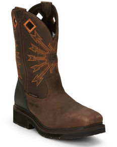 Justin Men's Brown Flanker Western Work Boots - Composite Toe, Brown, hi-res