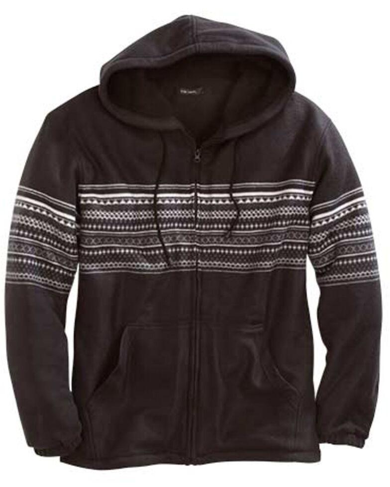 Tin Haul Men's Aztec Border Print Polar Fleece Hooded Jacket , Black, hi-res