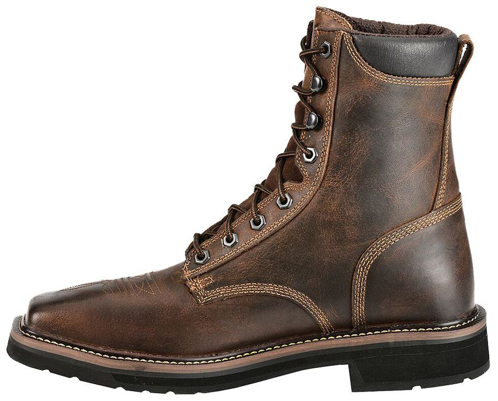 "Justin Men's Stampede Pulley 8"" Lace-Up Work Boots - Steel Toe, Rugged, hi-res"