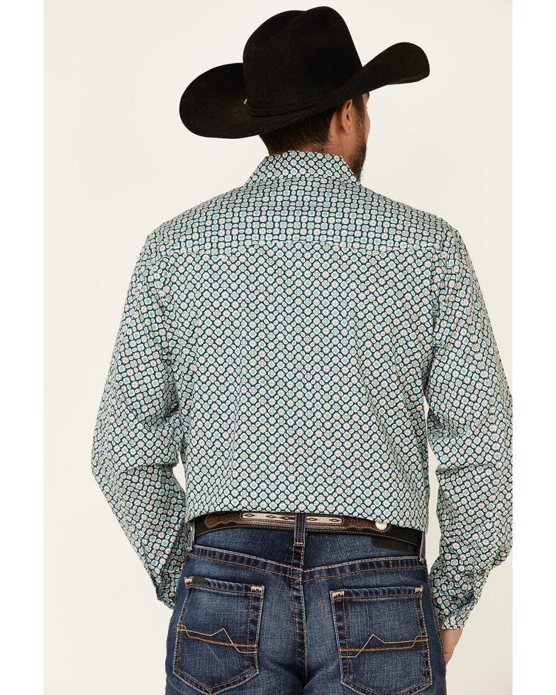 Cinch Men's Modern Fit Navy Paisley Geo Print Long Sleeve Western Shirt , Navy, hi-res