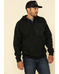 Cody James Men's Harvest Zip Front Hooded Sweatshirt , Black, hi-res