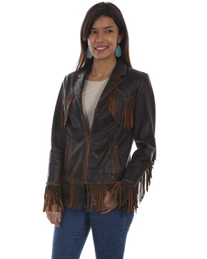 Leatherwear By Scully Women's Western Fringe Leather Jacket , Brown, hi-res