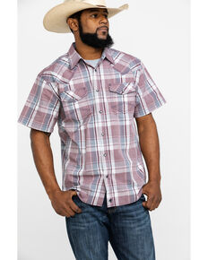 Moonshine Spirit Men's Steel Drum Plaid Short Sleeve Western Shirt , Burgundy, hi-res