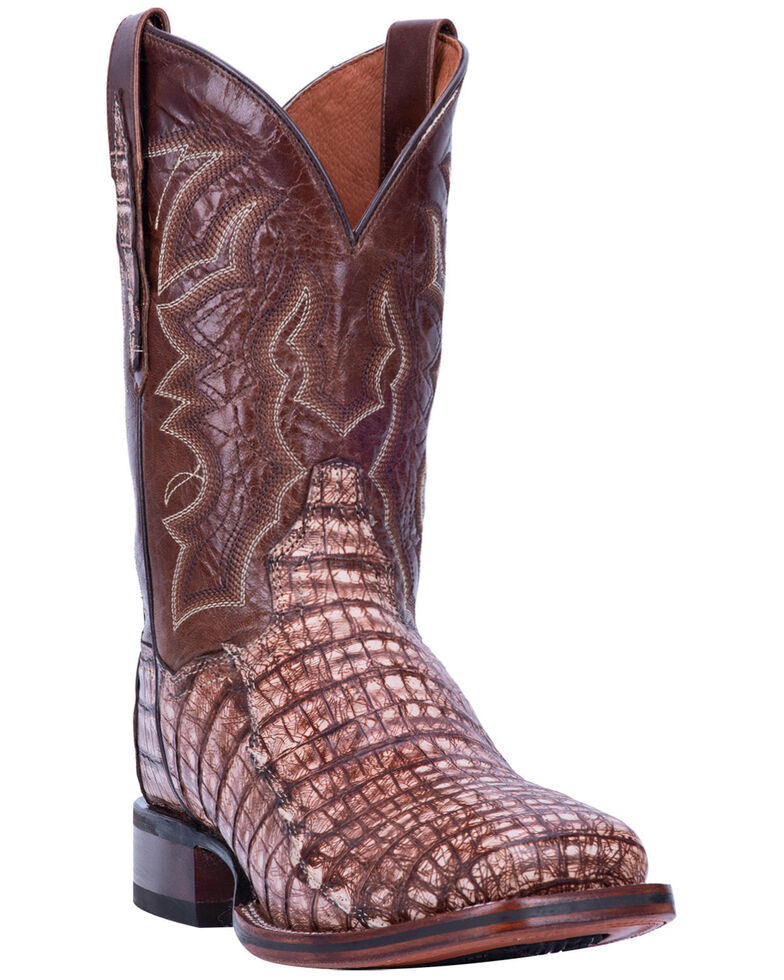 Dan Post Men's Kingsly Caiman Western Boots - Wide Square Toe, Brown, hi-res