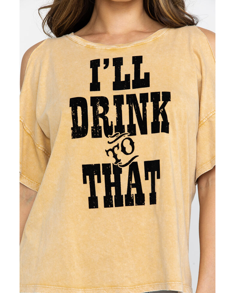 IOC Women's I'll Drink To That Cold Shoulder Top, Dark Yellow, hi-res