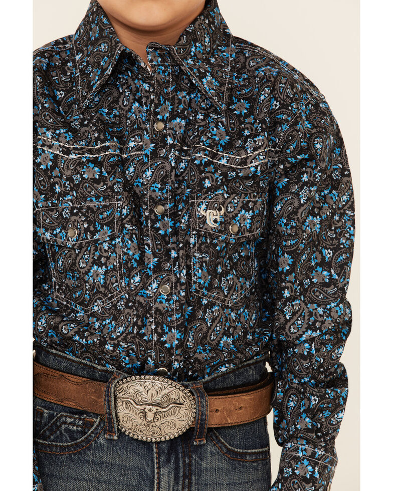 Cowboy Hardware Boys' Black Paisley Print Long Sleeve Western Shirt , Black/turquoise, hi-res