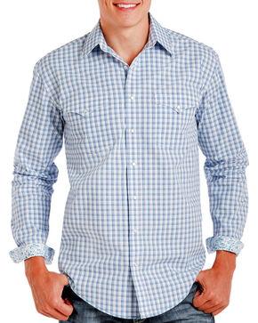Rough Stock Men's Blue Checkered Pattern Long Sleeve Shirt , Blue, hi-res