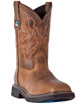 "McRae Men's 11"" Pull On Western Work Boots - Wide Square Toe, Brown, hi-res"