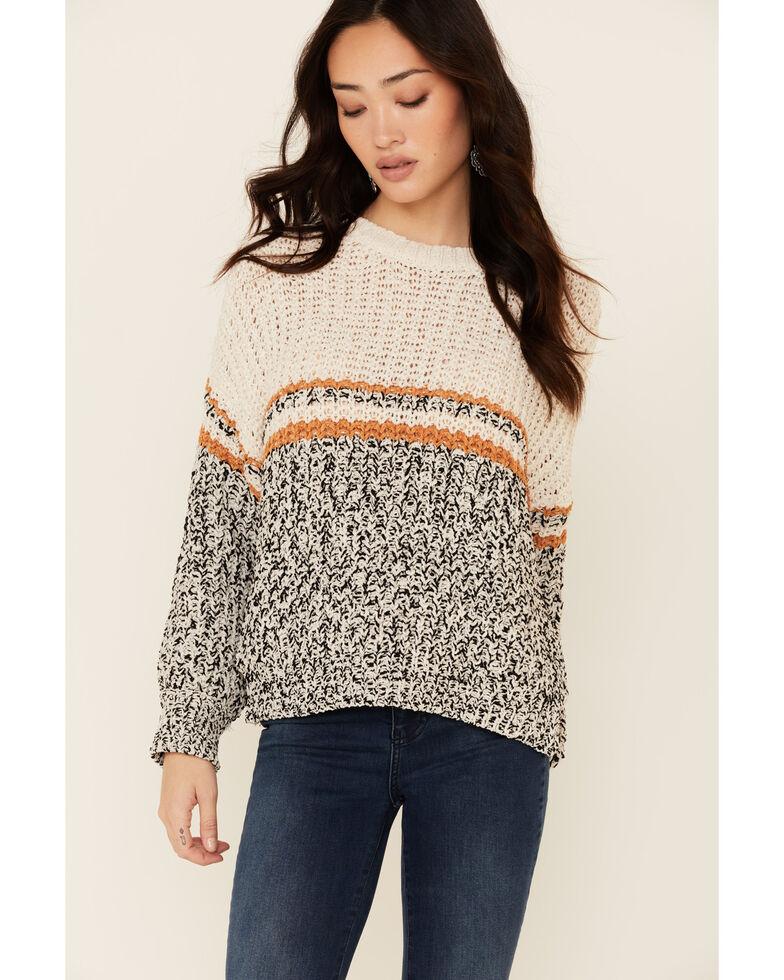 Hem & Thread Women's Ivory Colorbock Sweater , Ivory, hi-res