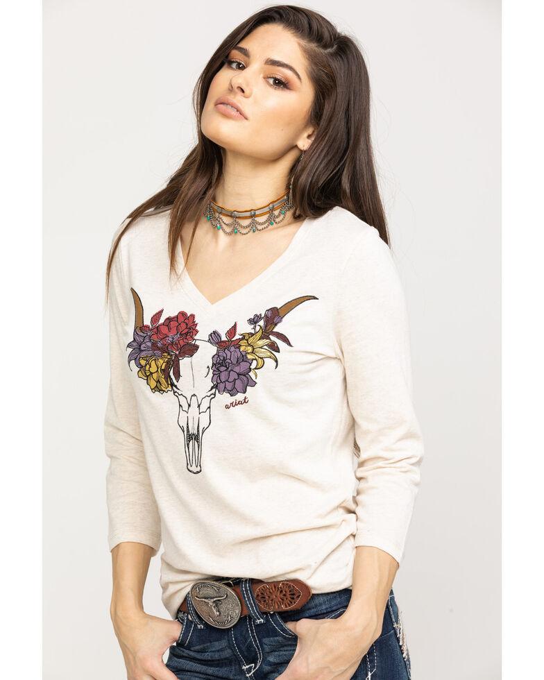 Ariat Women's Elara Long Sleeve Top, Heather Grey, hi-res