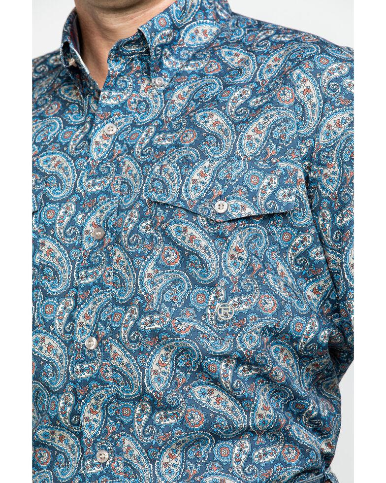 Roper Men's Amarillo Normandy Paisley Print Long Sleeve Western Shirt , Blue, hi-res