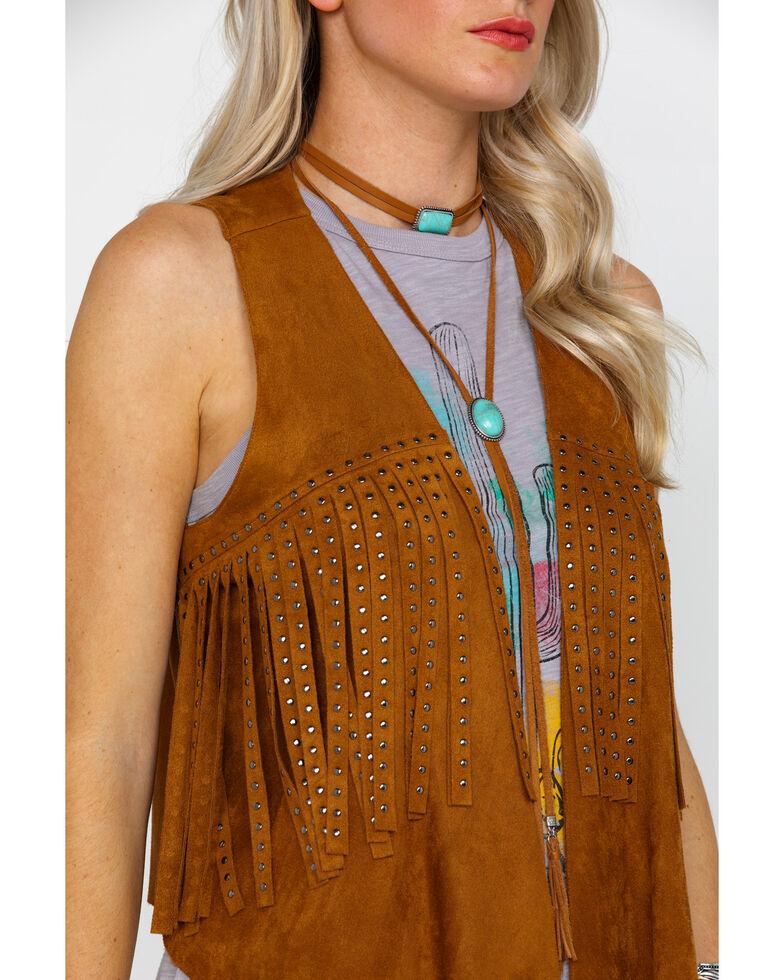 Vocal Women's Camel Faux Suede Studded Fringe Vest , Camel, hi-res