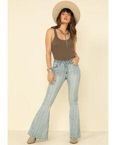 Rock & Roll Denim Women's Light Wash Stripe High Rise Flare Jeans, Blue, hi-res