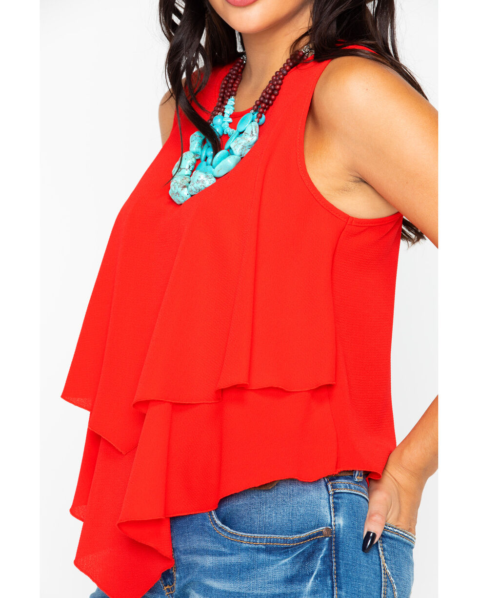 Panhandle Women's Red Solid Double Crepe Layer Flutter Tank , Red, hi-res