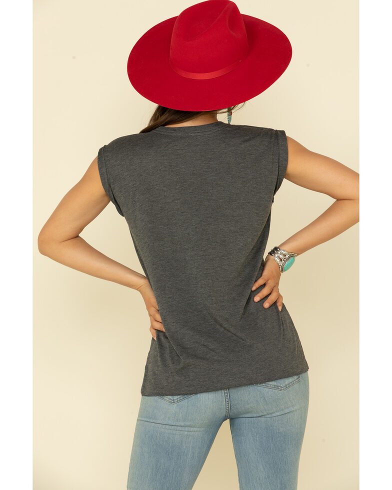 Rodeo Quincy Women's Charcoal USA Steer Graphic Muscle Tee , Charcoal, hi-res