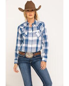 Wrangler Women's Navy Big Plaid Button Long Sleeve Shirt , Navy, hi-res