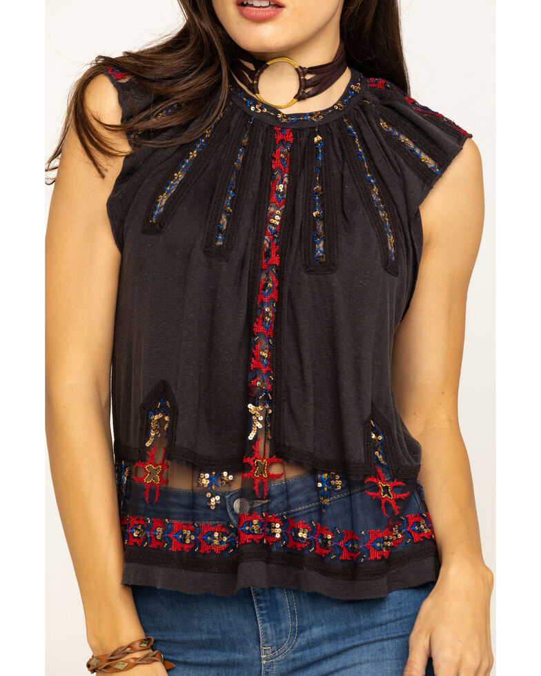 Free People Women's Morocco Tank Top, Black, hi-res