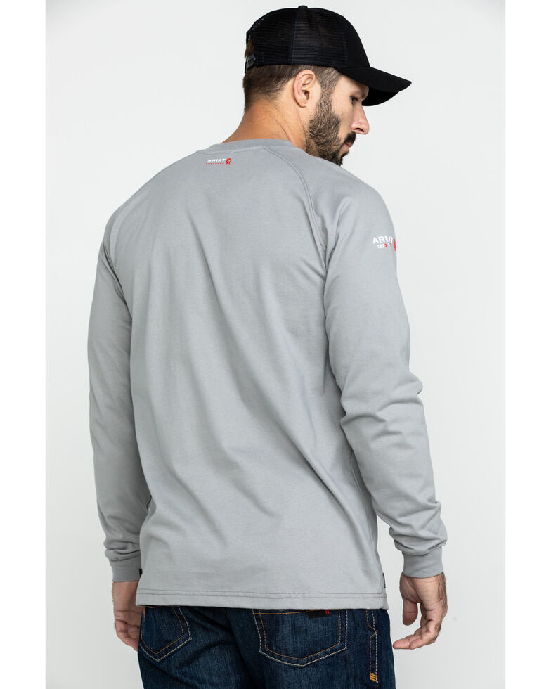 Ariat Men's FR Liberty Logo Long Sleeve Work Shirt - Tall , Silver, hi-res