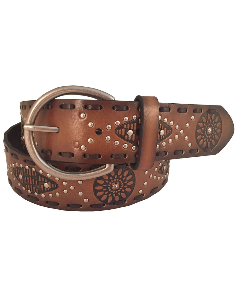 Cowgirls Rock Women's Floral Round Leather Laced Edge Belt , Tan, hi-res