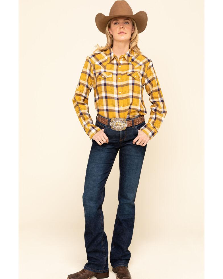 Wrangler Retro Women's Mustard Boyfriend Flannel Shirt, Dark Yellow, hi-res
