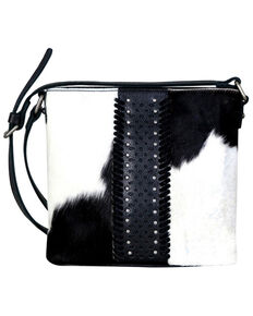 Delila by Montana West Women's Black Leather Hair-On Crossbody, Black, hi-res