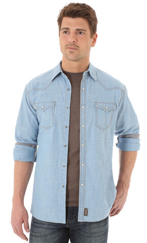 Wrangler Retro Men's Long Sleeve Denim Snap Shirt, Light Blue, hi-res