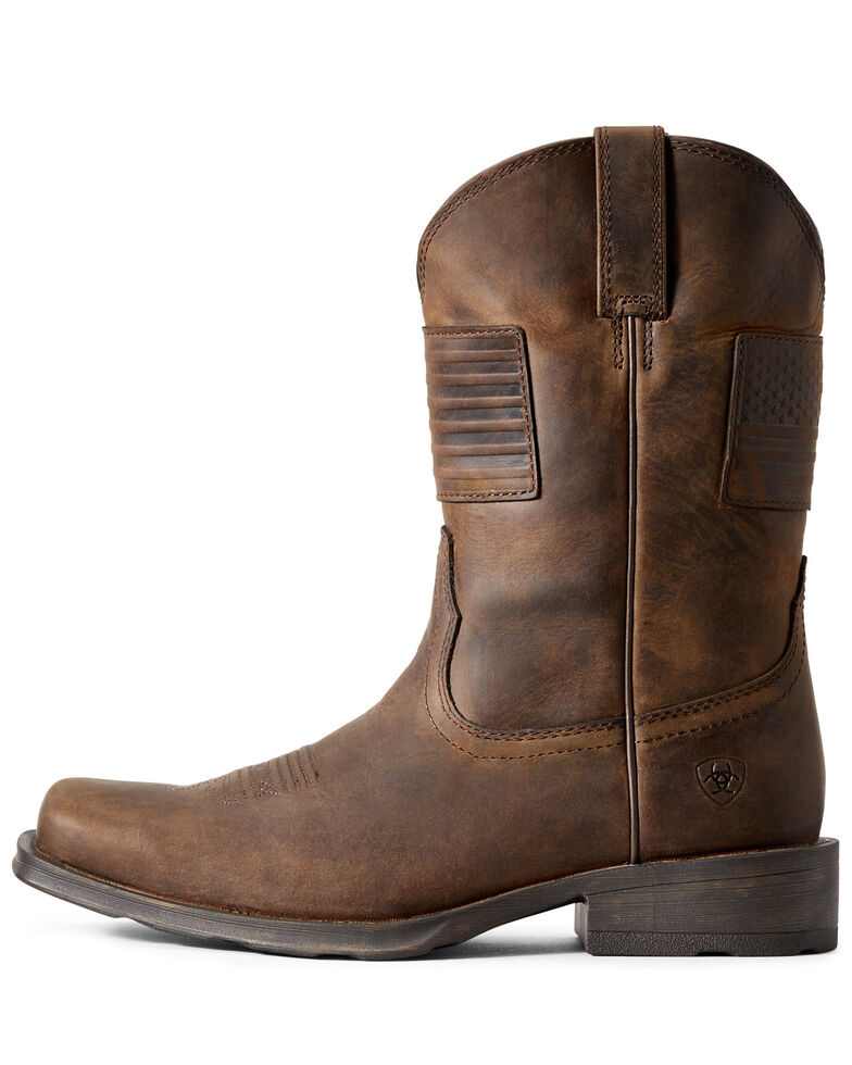 Ariat Men's Rambler Patriot Distressed Western Boots – Square Toe , Distressed Brown, hi-res
