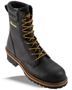 "Thorogood Men's 9"" Logger Work Boots - Composite Toe, Black, hi-res"