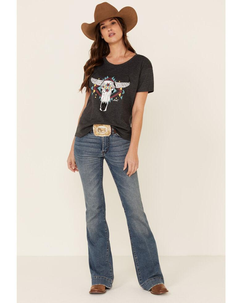 Ariat Women's Charcoal Steer West Graphic Tee , , hi-res