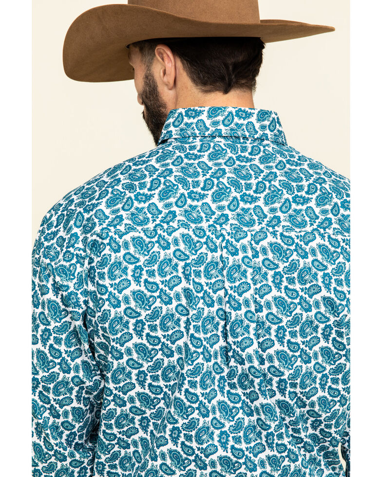 George Strait By Wrangler Men's Teal Small Paisley Print Long Sleeve Western Shirt - Big , Teal, hi-res