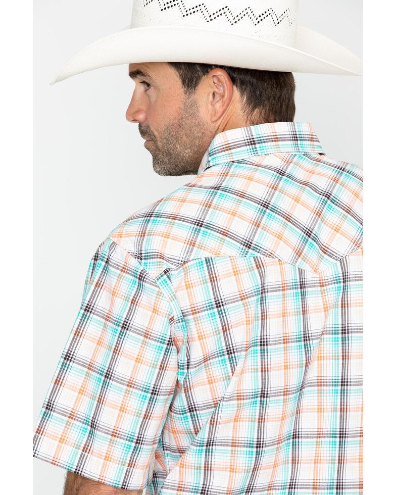 Wrangler Men's 20X Plaid Long Sleeve Advanced Comfort Competition Shirt , Turquoise, hi-res
